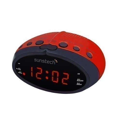 RADIO DESPERTADOR SUNSTECH FRD16 ROJO